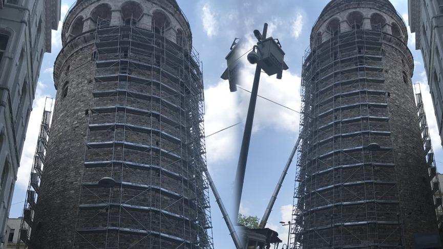 Ebabil kuşları için Galata Kulesi'ndeki restorasyona ara verildi