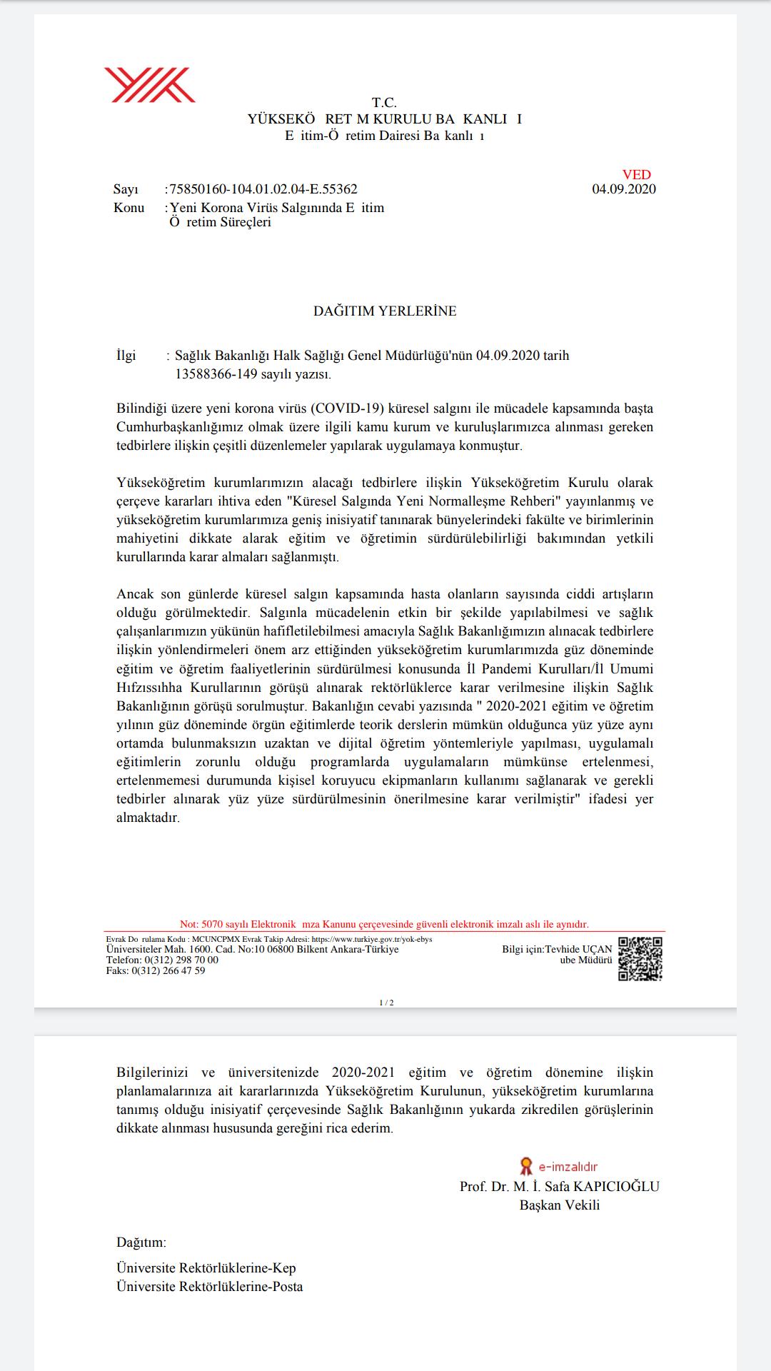 YÖK Başkanı Yekta Saraç'tan uzaktan eğitim açıklaması