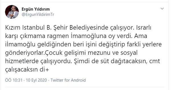 Ergün Yıldırım, İBB'nin kızına mobbing uyguladığını iddia etti