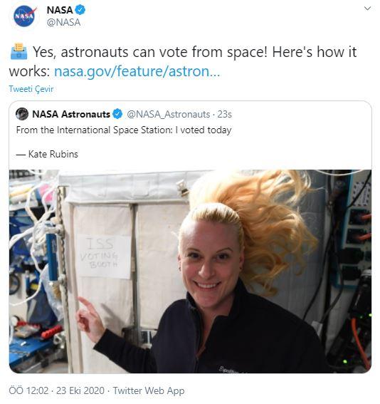 ABD'li astronot Kate Rubinsbaşkanlık seçimleri için uzaydan oy kullandı