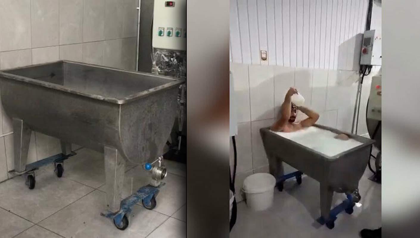 Süt banyosu yapan ve bunu görüntüleyen iki şahıs tutuklandı