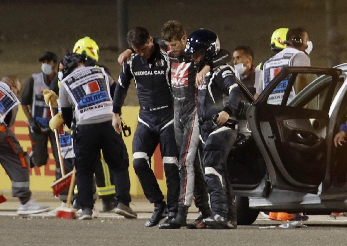 F1 'de korkunç kaza: Grosjean, ikiye bölünerek patlayan araçtan sağ çıktı!
