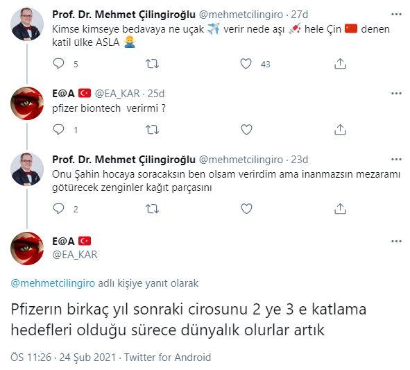 """Prof. Dr. Çilingiroğlu: """"Kimse kimseye bedavaya ne uçak verir ne de aşı!"""""""