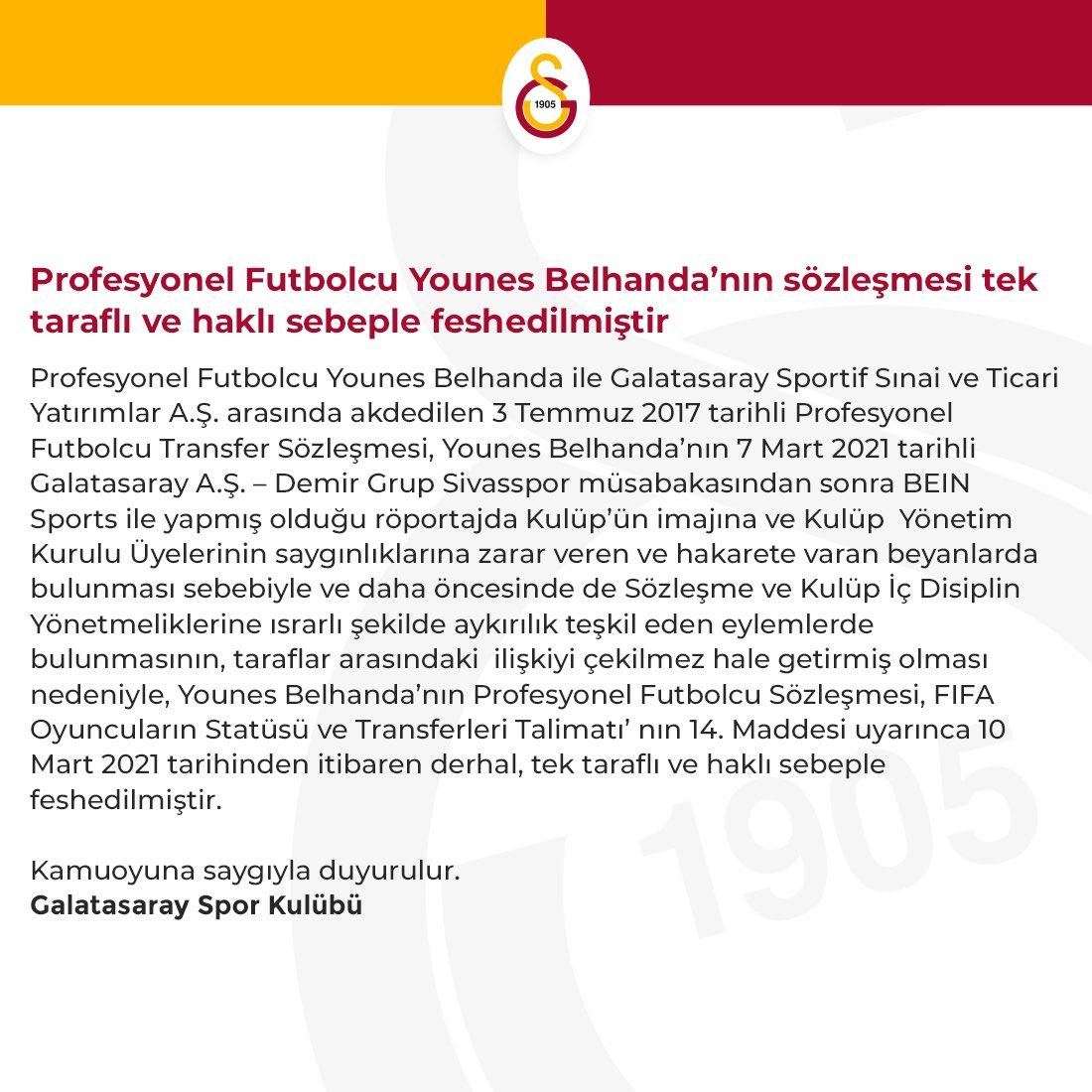 Galatasaray'da bir dönem sona erdi! Belhanda'nın sözleşmesi feshedildi