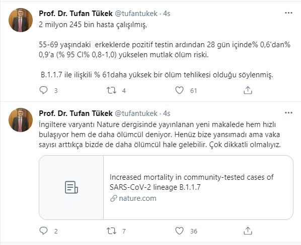 Prof. Dr. Tufan Tükek'ten İngiltere varyantı açıklaması: Vaka sayısı arttıkça ölümcül hale gelebilir