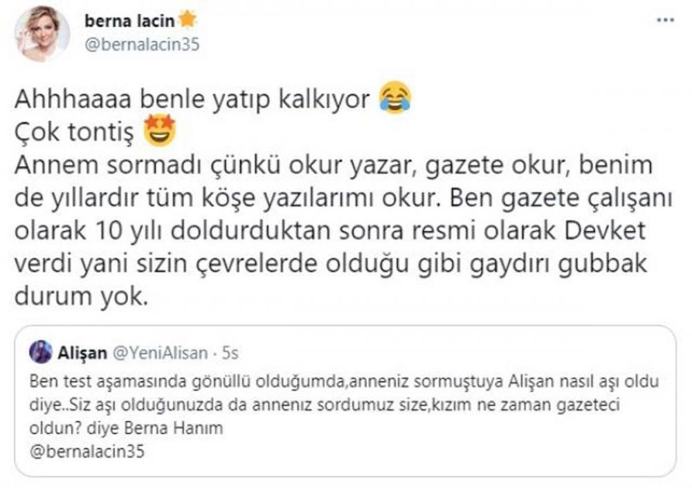 Alişan'dan oyuncu Berna Laçin'e sert yanıt!