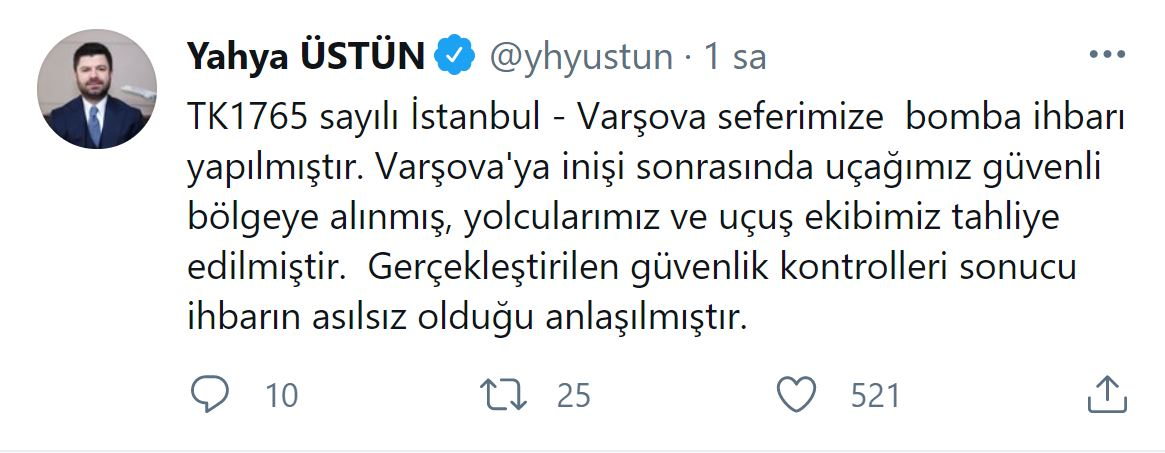 THY'nin İstanbul-Varşova seferini yapan uçağına bomba ihbarı!