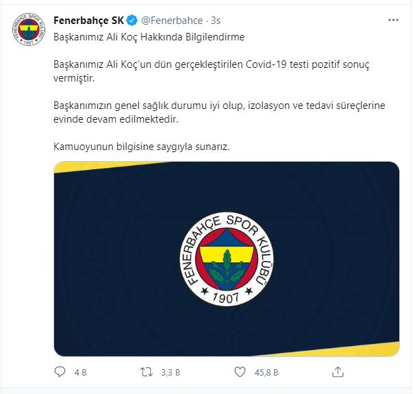 Fenerbahçe açıkladı: Ali Koç'un koronavirüs testi pozitif çıktı
