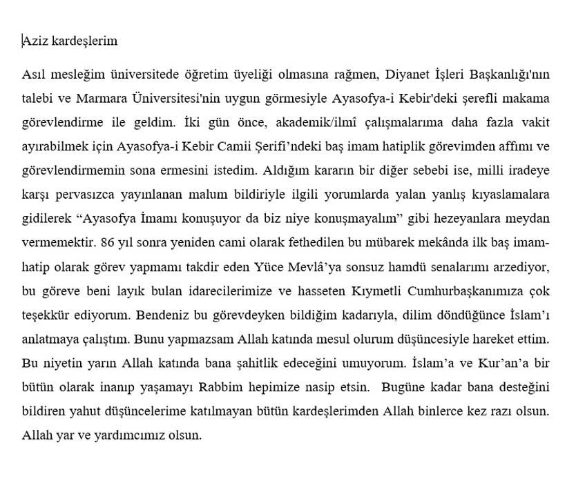 Ayasofya Camii İmamı Boynukalın görevini neden bıraktığın açıkladı !