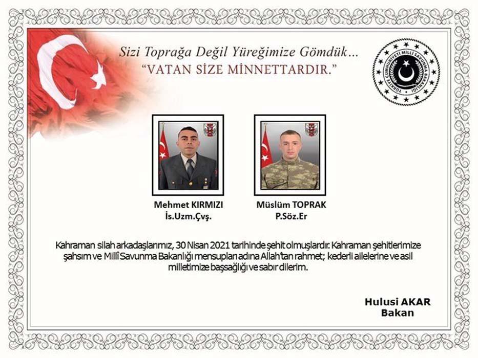 MSB'den acı haber: 2 askerimiz şehit düştü!